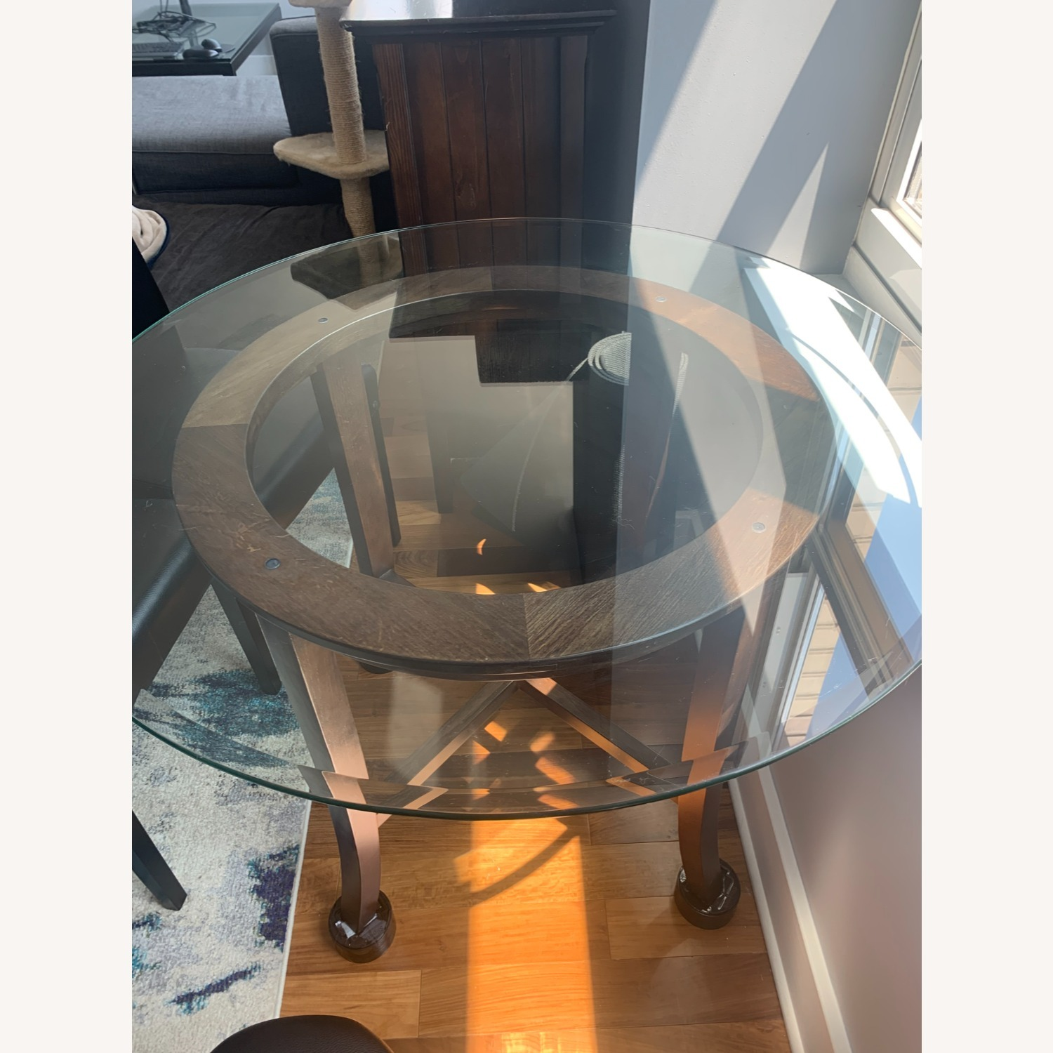 "Crate & Barrel 42"" Round Dining Table with Glass Top - image-3"