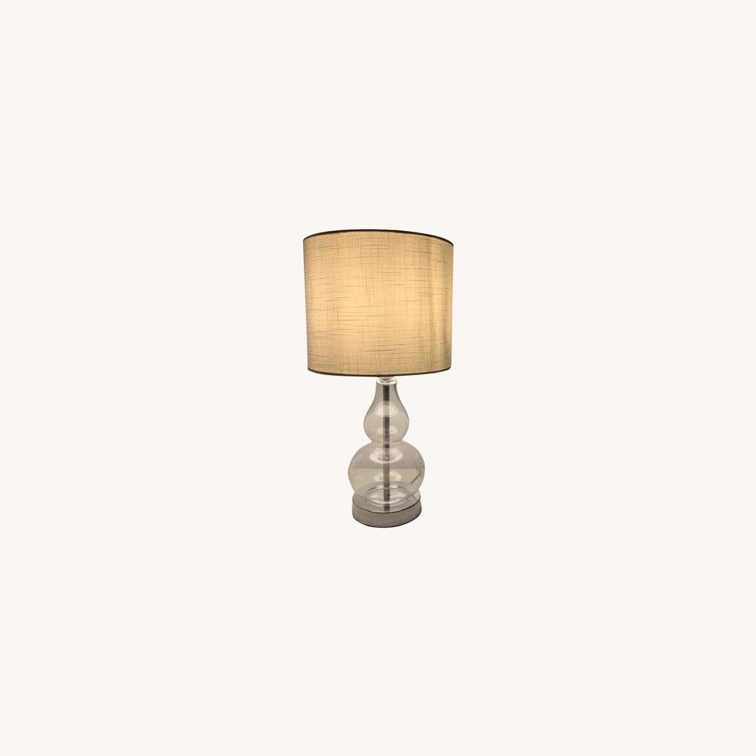 Houzz Two Glass and White Fabric Table Lamps - image-0