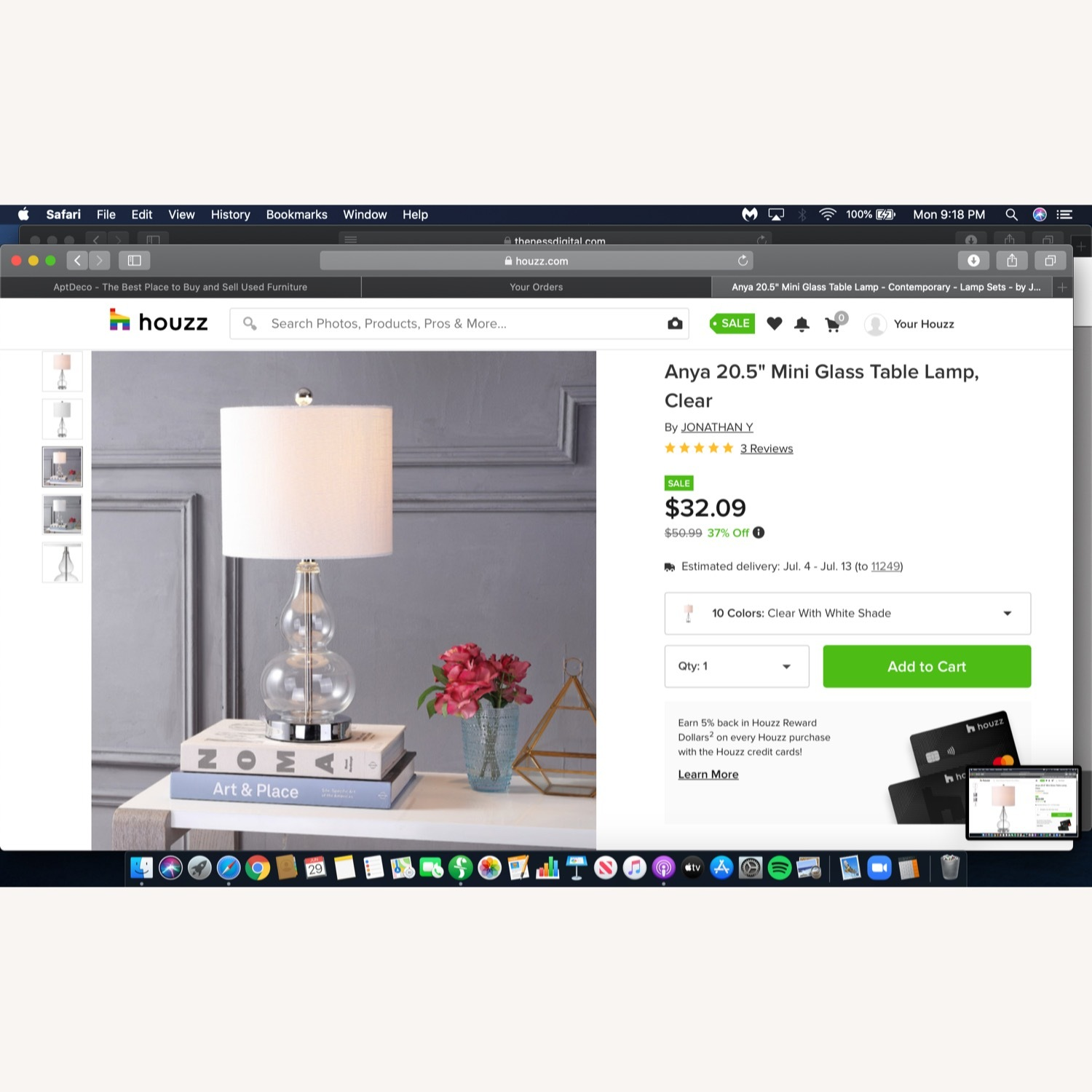 Houzz Two Glass and White Fabric Table Lamps - image-1