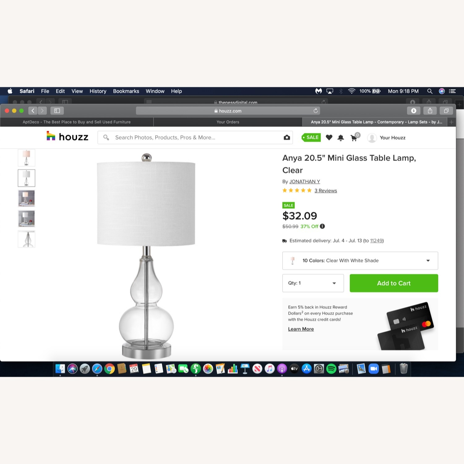 Houzz Two Glass and White Fabric Table Lamps - image-3