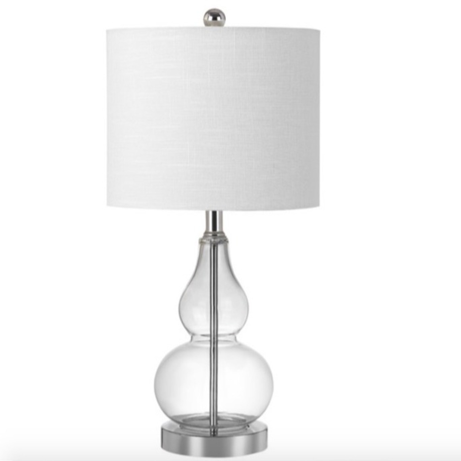 Houzz Two Glass and White Fabric Table Lamps - image-6
