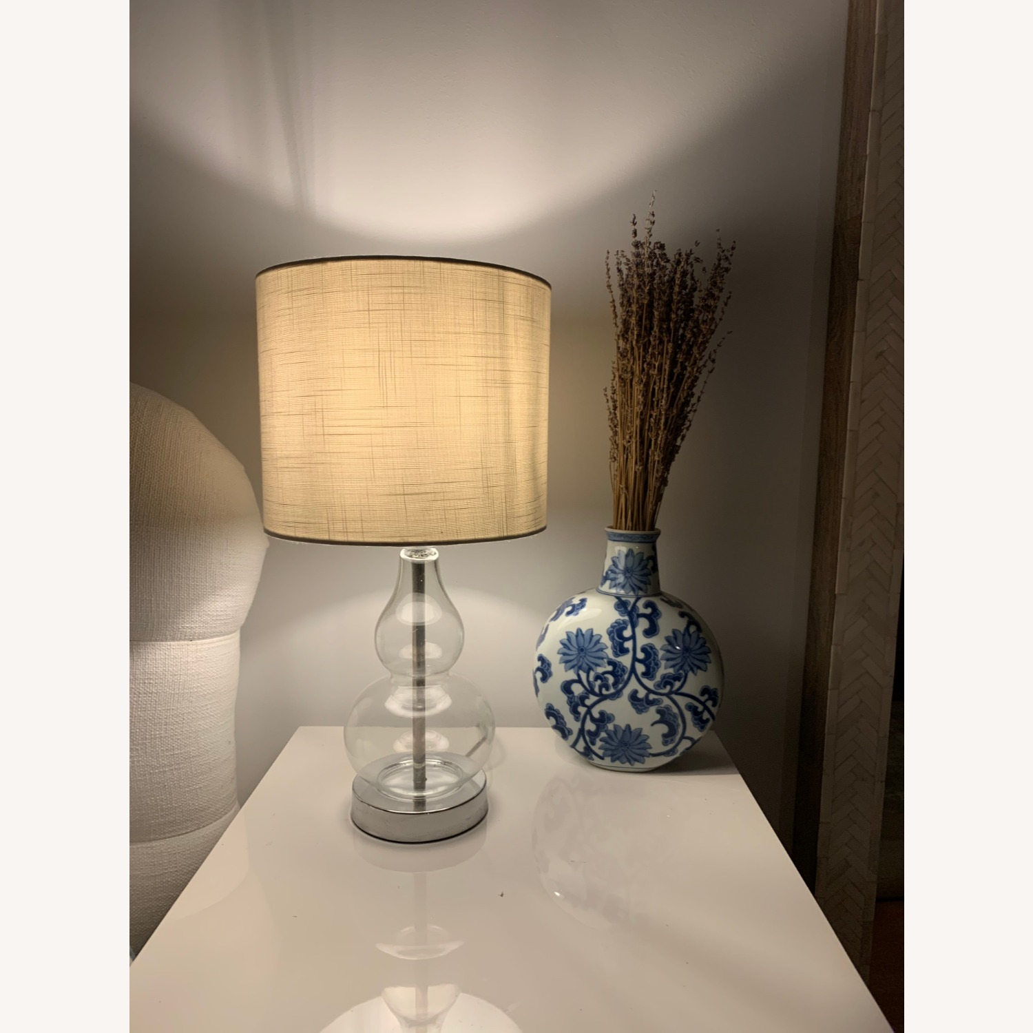 Houzz Two Glass and White Fabric Table Lamps - image-4
