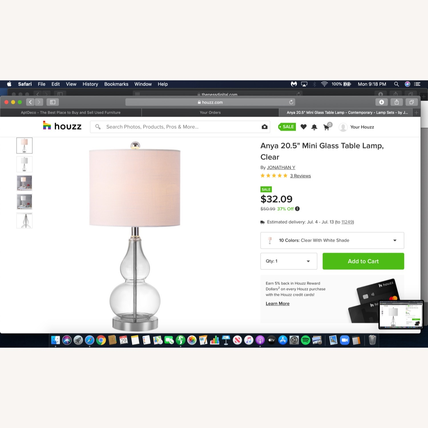 Houzz Two Glass and White Fabric Table Lamps - image-2