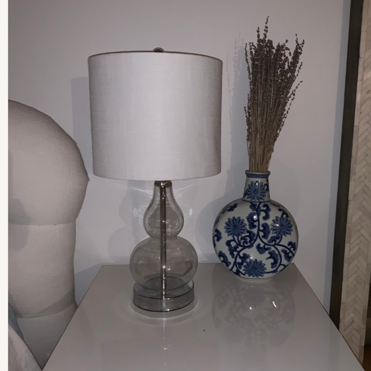 Houzz Two Glass and White Fabric Table Lamps - image-7