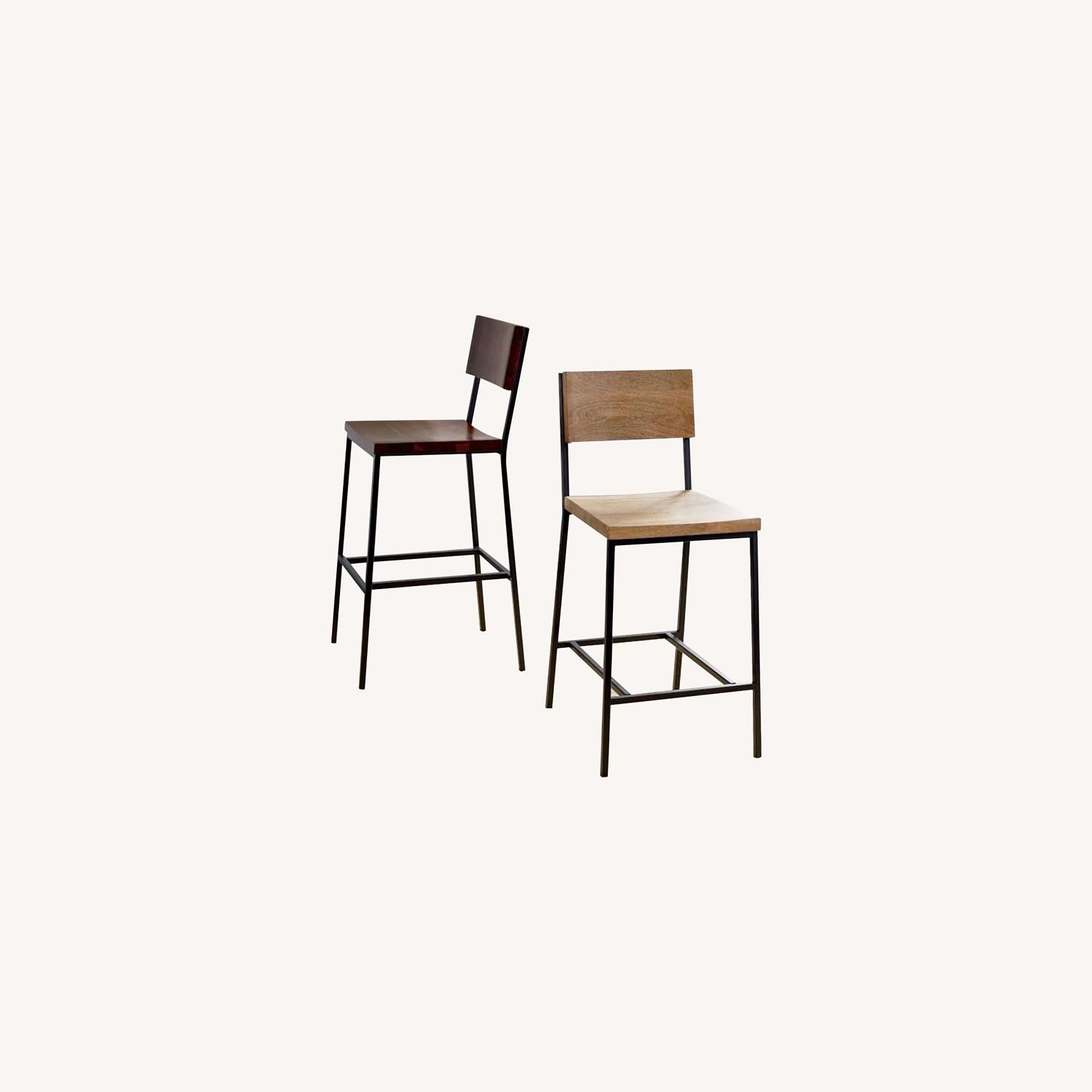 West Elm Rustic Counter Stools - Set of 2 - image-0