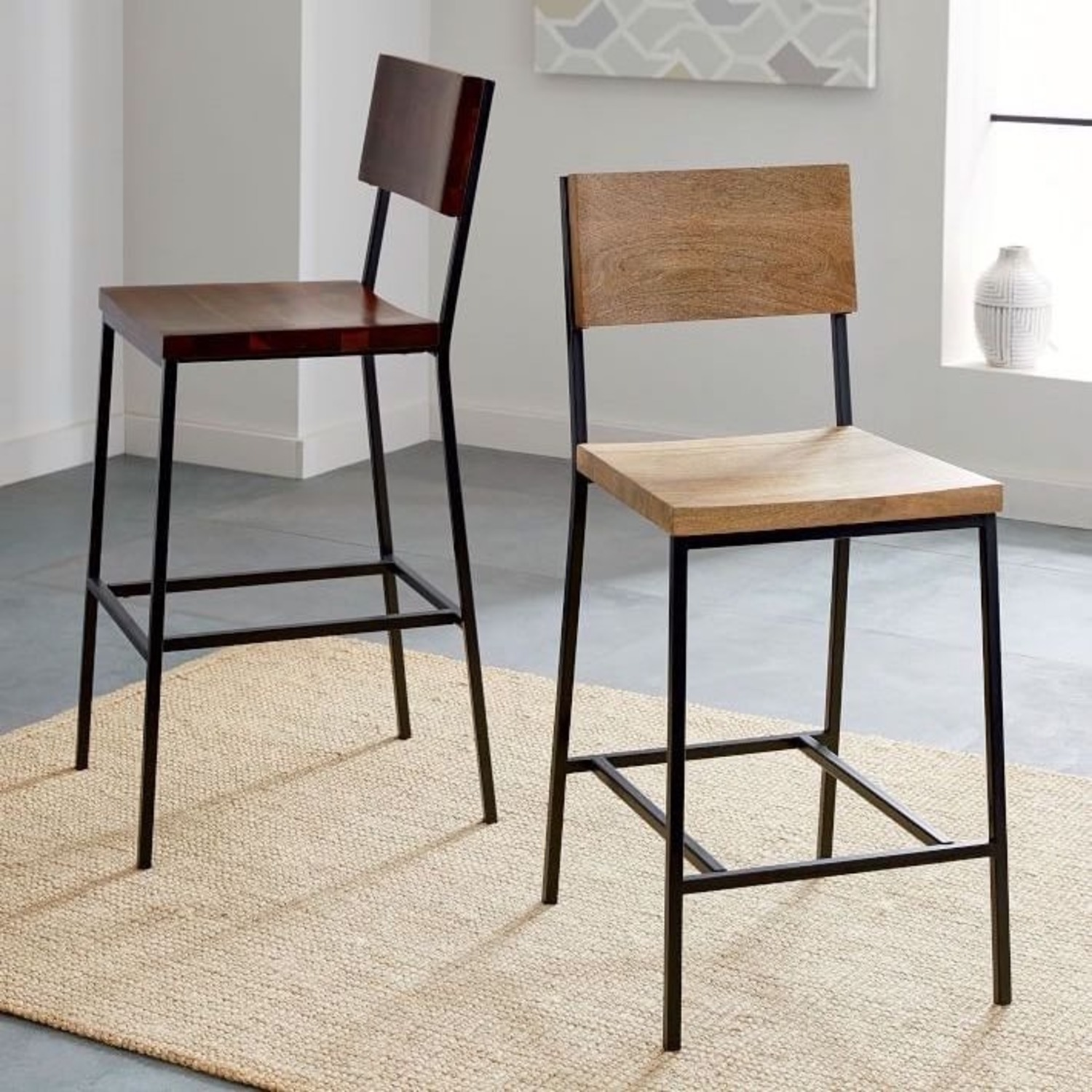 West Elm Rustic Counter Stools - Set of 2 - image-1