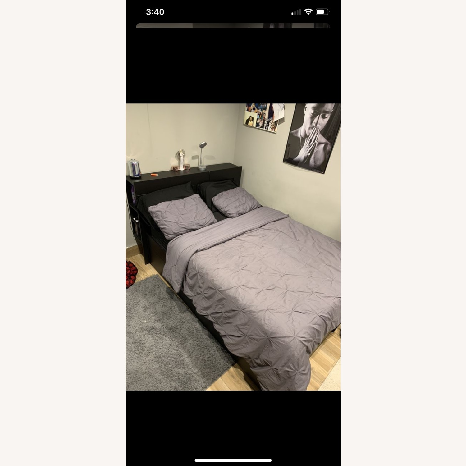 IKEA Queen Bed Frame with Movable Headboard - image-2