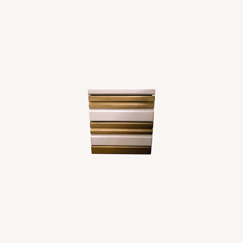 Vintage Boho White/Gold Bed Side Tables - image-0