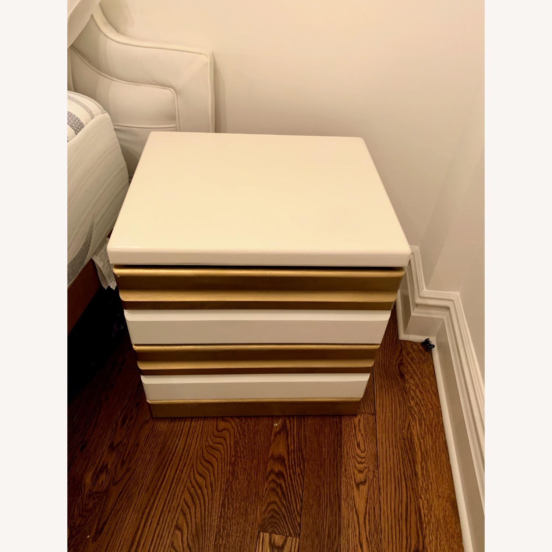 Vintage Boho White/Gold Bed Side Tables - image-2