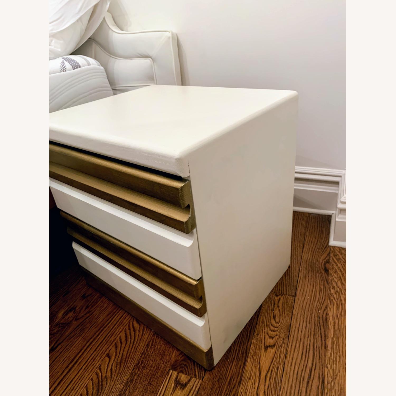 Vintage Boho White/Gold Bed Side Tables - image-3
