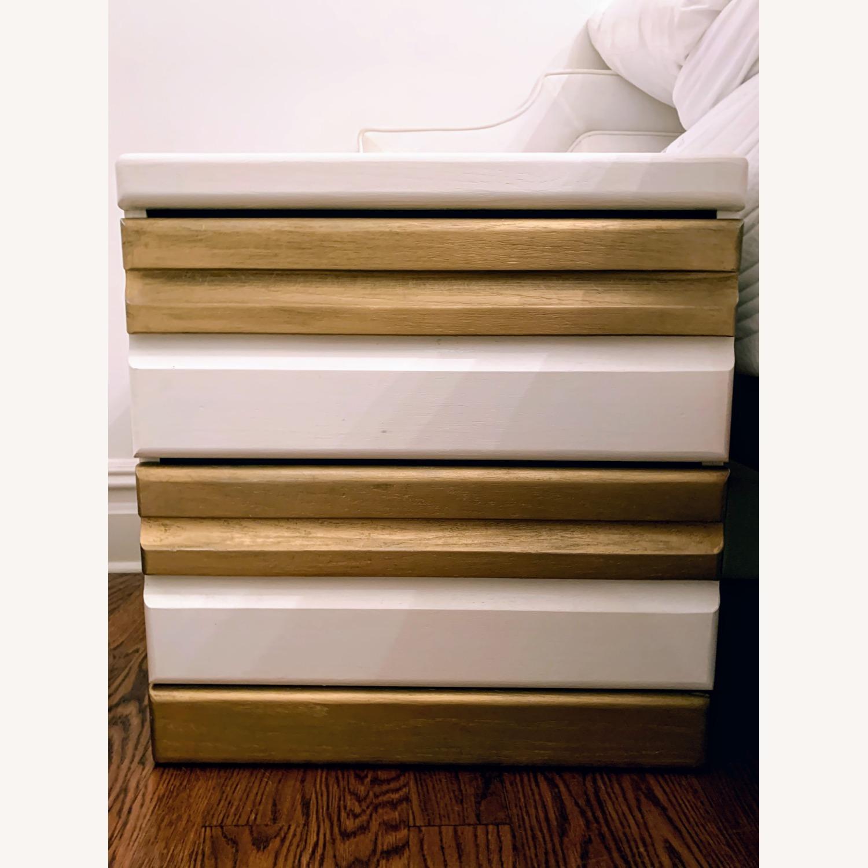 Vintage Boho White/Gold Bed Side Tables - image-1
