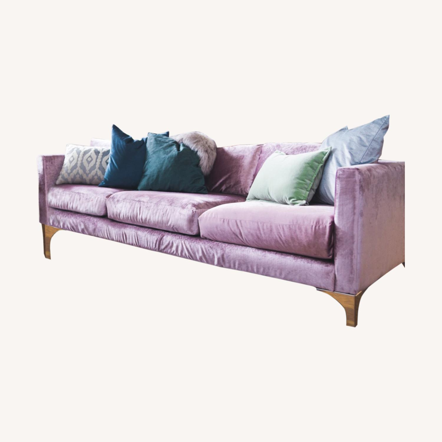 Urban Outfitters Modern Lavender Velvet Couch - image-0