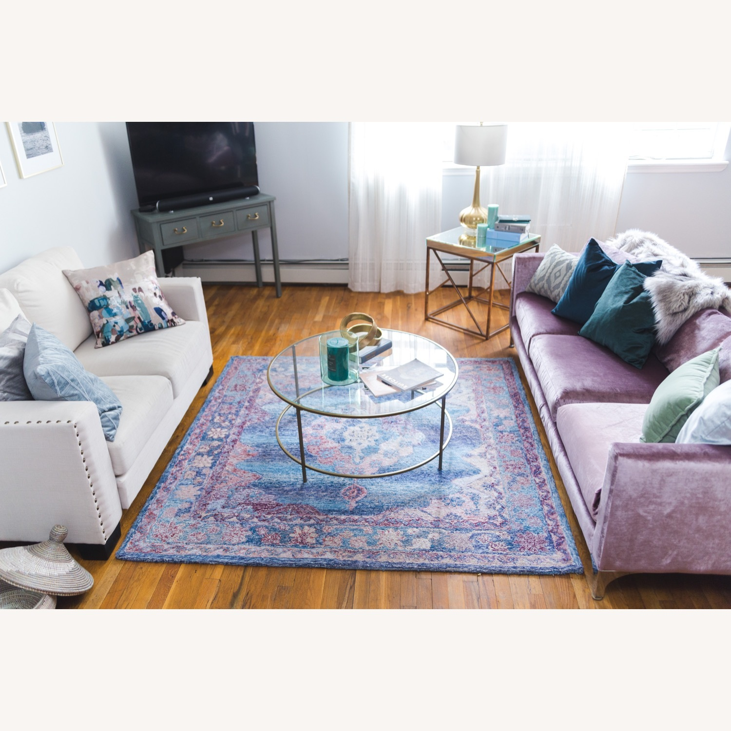 Urban Outfitters Modern Lavender Velvet Couch - image-4