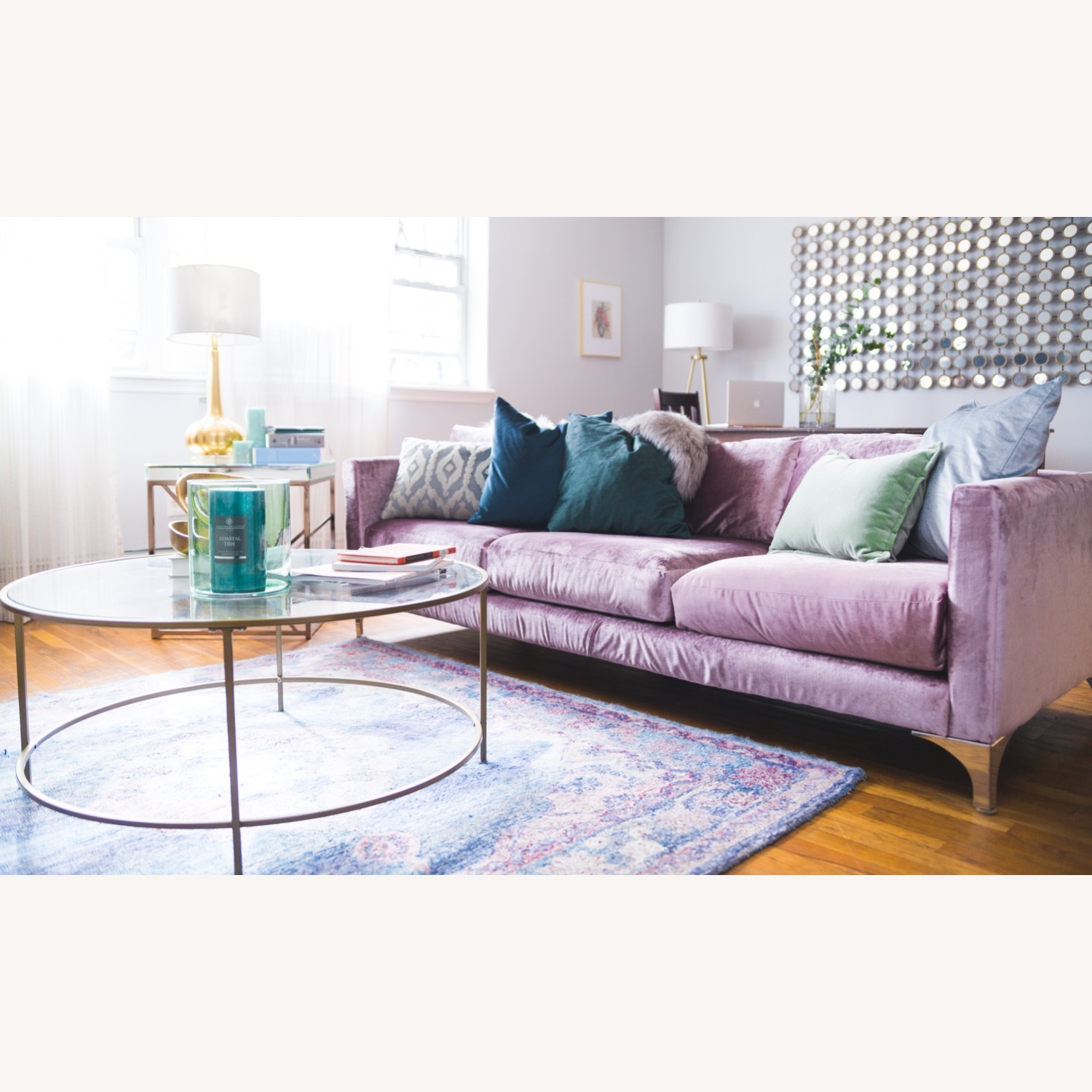 Urban Outfitters Modern Lavender Velvet Couch - image-1