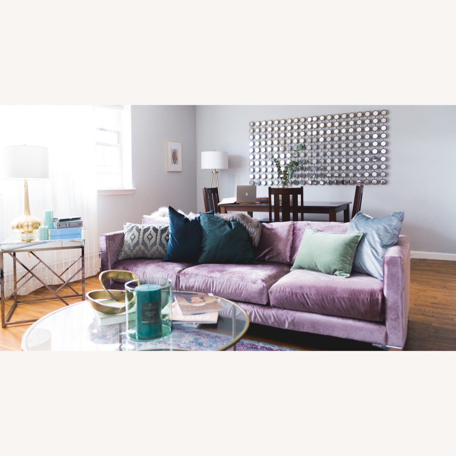 Urban Outfitters Modern Lavender Velvet Couch - image-3