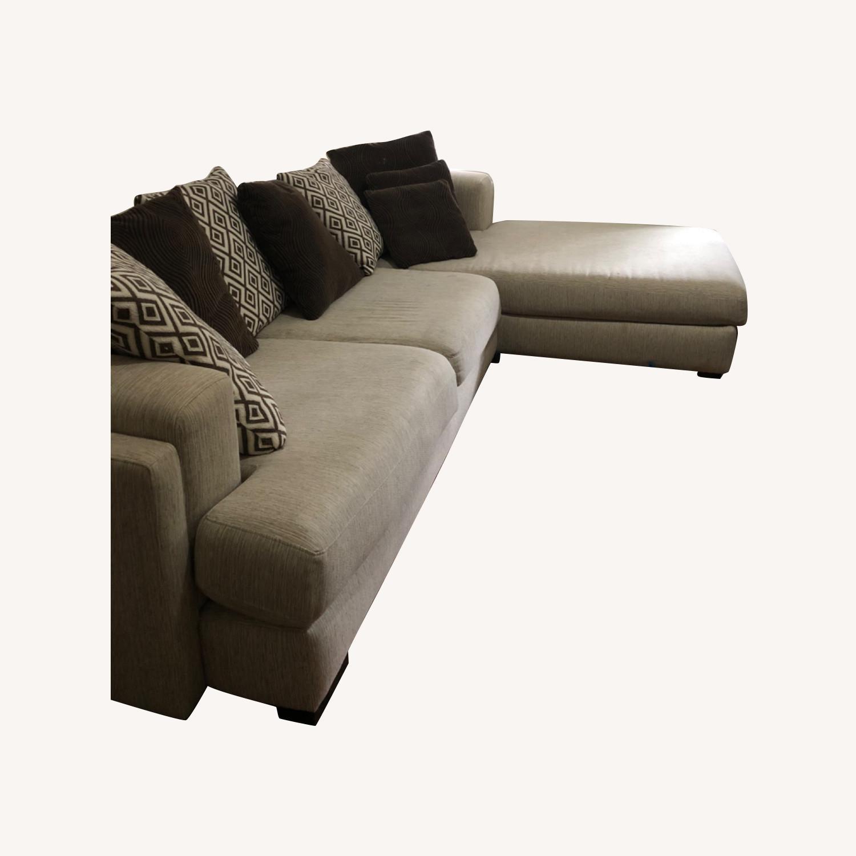 Raymour & Flanigan Beige Comfortable Sectional Sofa - image-0