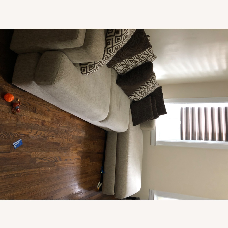 Raymour & Flanigan Beige Comfortable Sectional Sofa - image-2
