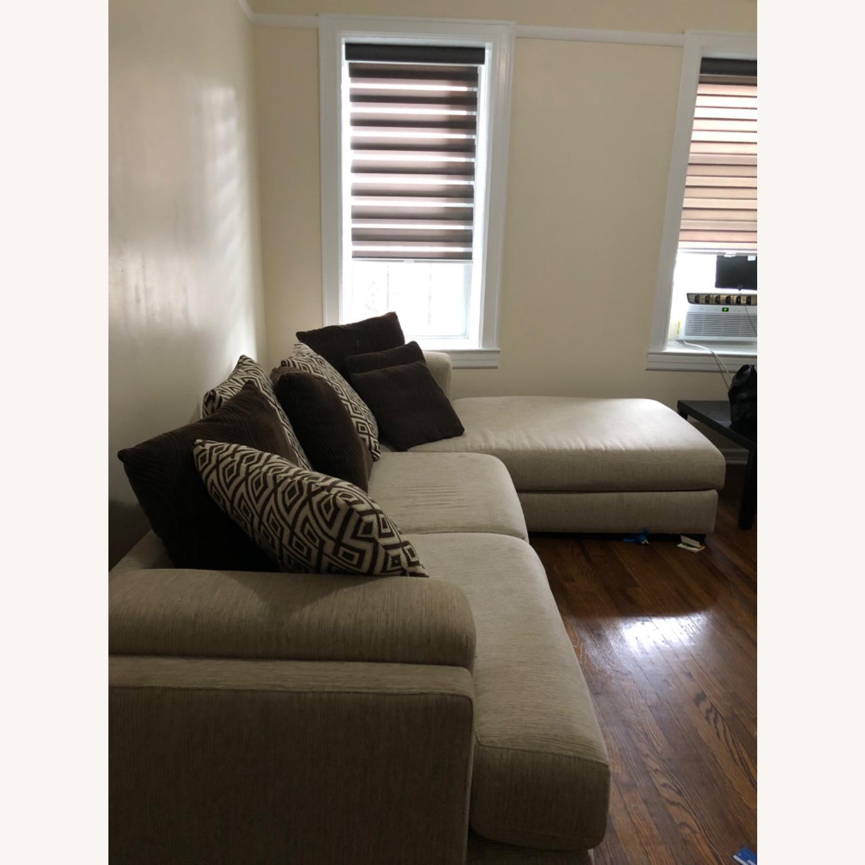 Raymour & Flanigan Beige Comfortable Sectional Sofa - image-1