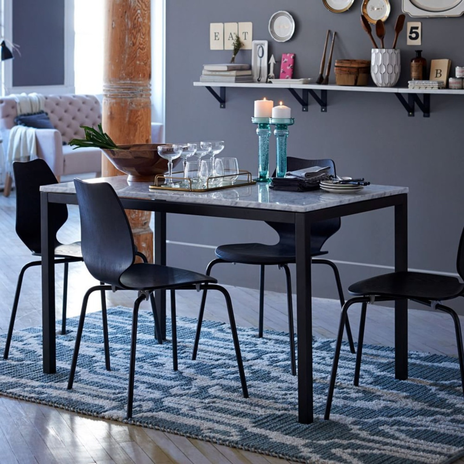 West Elm Marble Dining Table - image-1