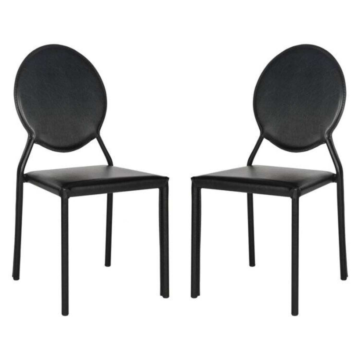 Safavieh Black Leather Dining Chairs - image-1
