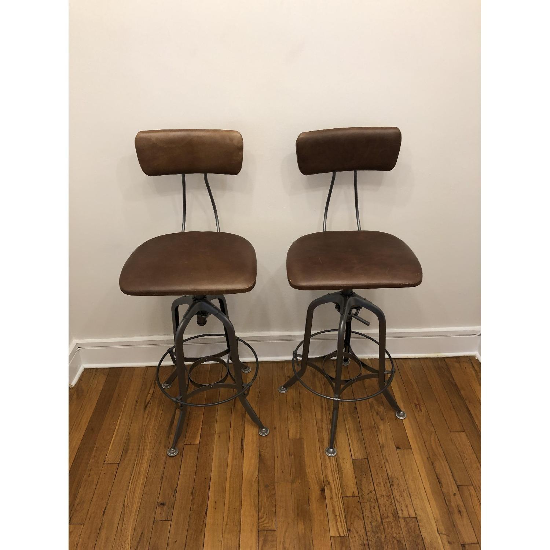Restoration Hardware Toledo Leather Bar Chairs - image-2