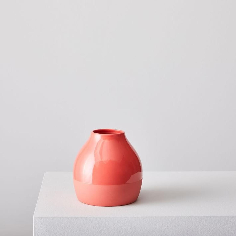 West Elm Bright Ceramicist Vase, Wide, Red - image-3