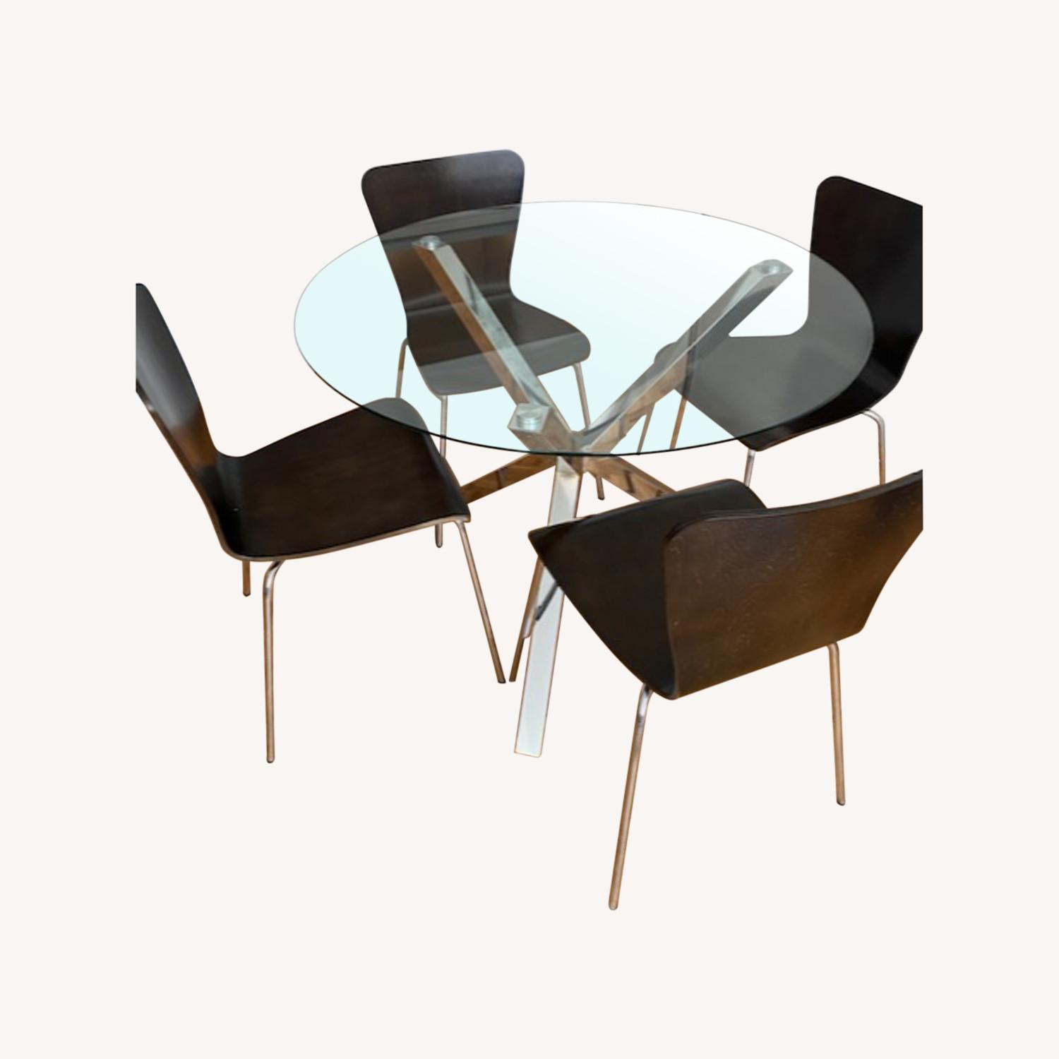 Chrome & Glass Dining Table with 4 Chairs - image-0