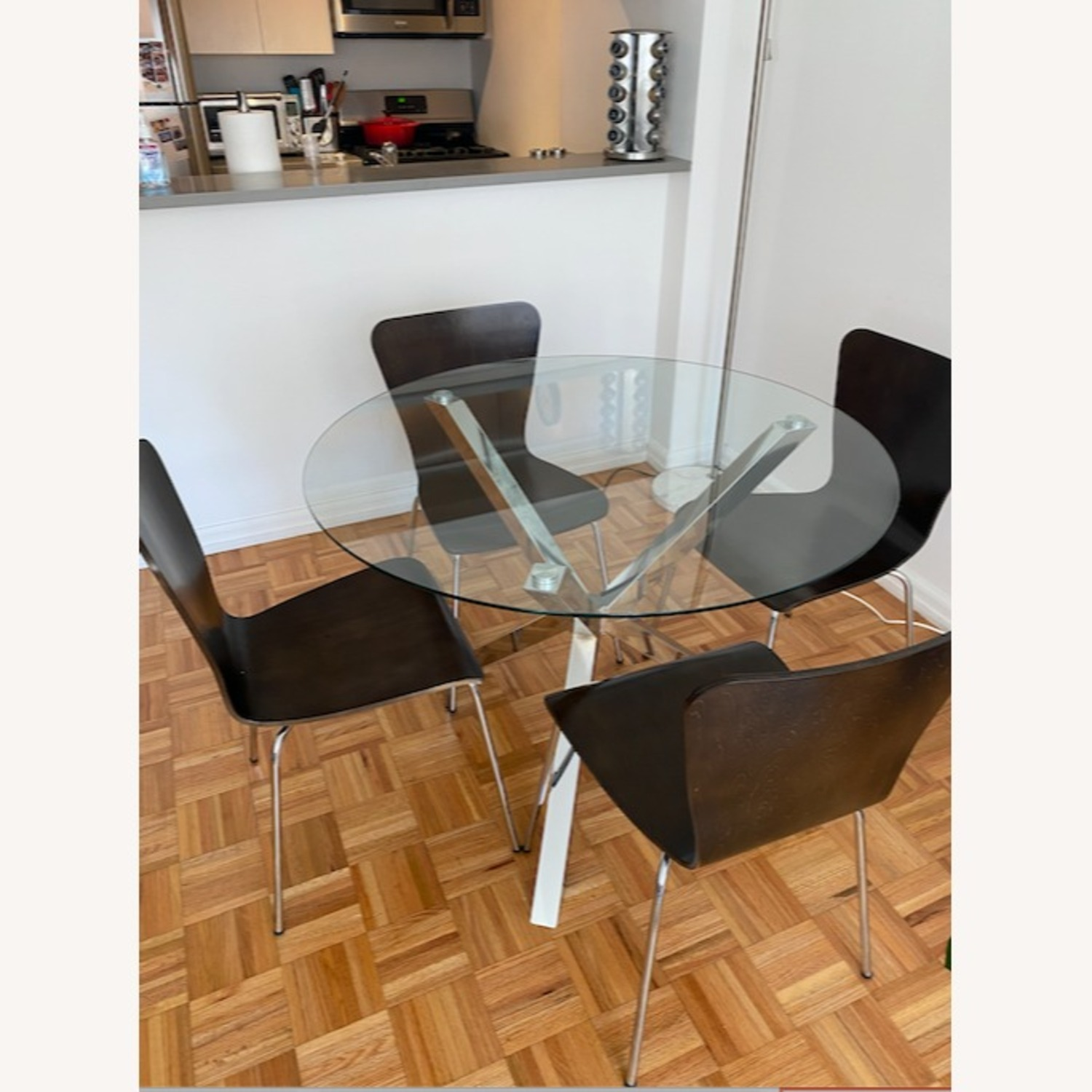 Chrome & Glass Dining Table with 4 Chairs - image-1