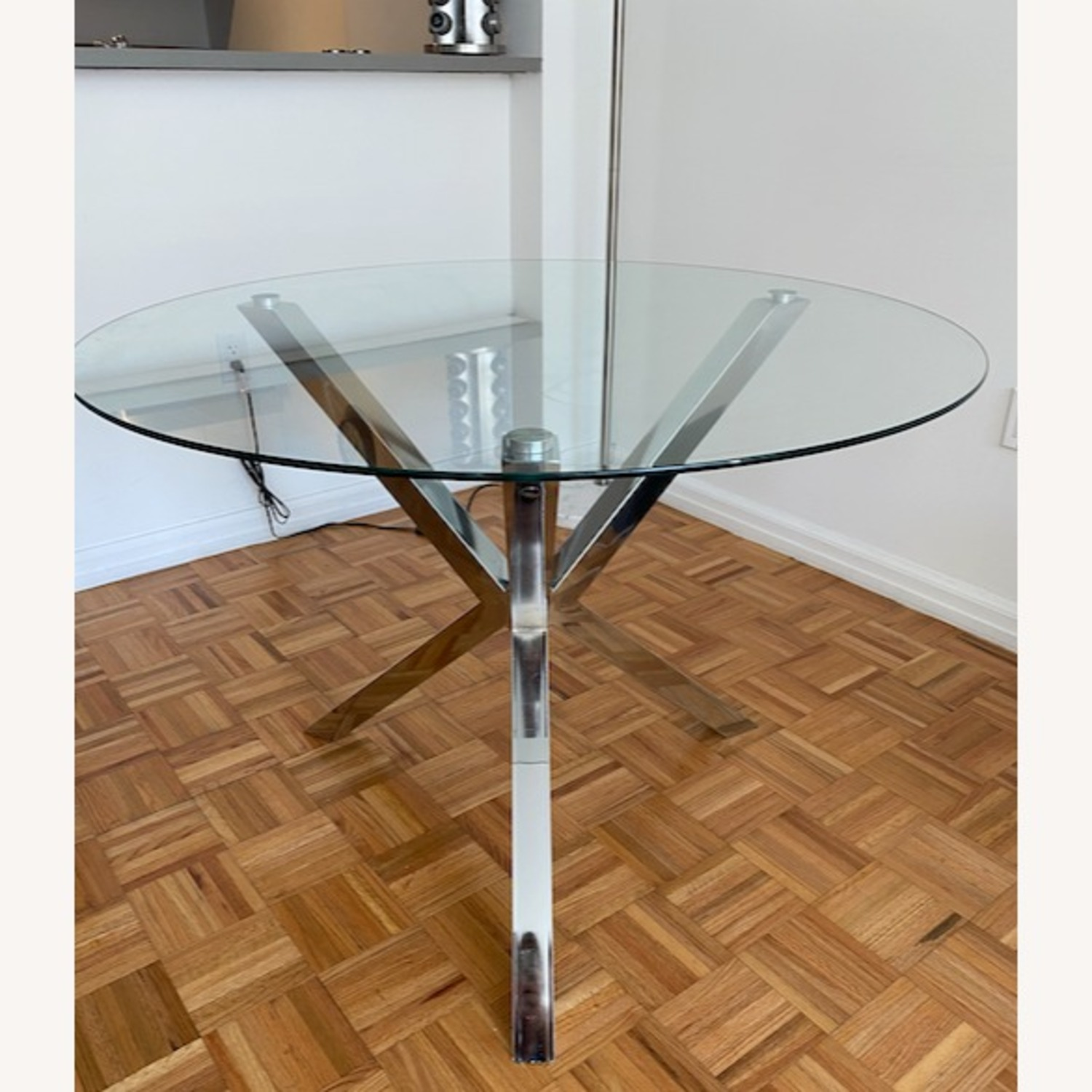 Chrome & Glass Dining Table with 4 Chairs - image-2