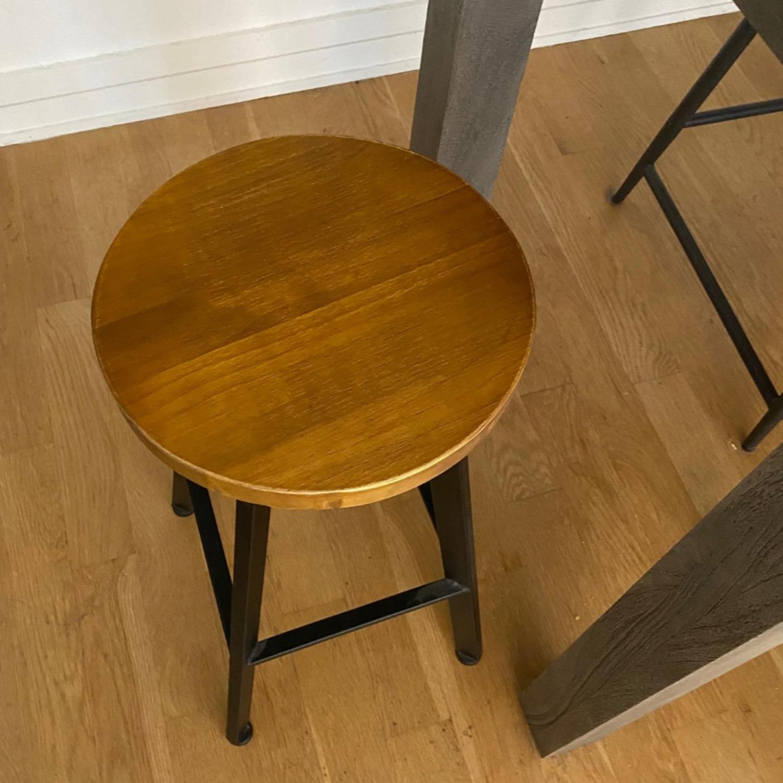 Wood/metal Adjustable Bar Stools - image-1