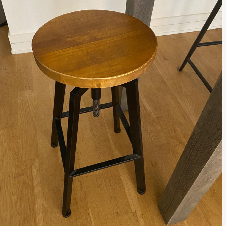 Wood/metal Adjustable Bar Stools - image-2