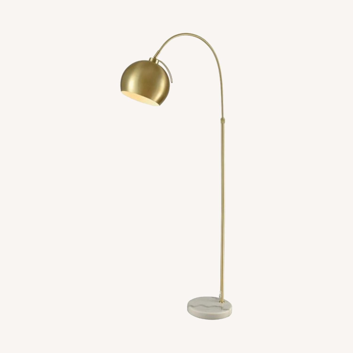 Gold Midcentury Curved Floor Lamp, Marble - image-0