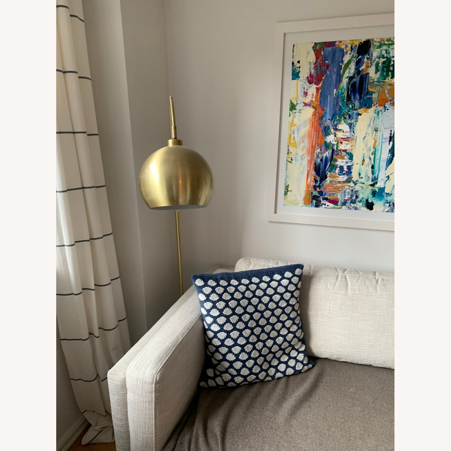 Gold Midcentury Curved Floor Lamp, Marble - image-3