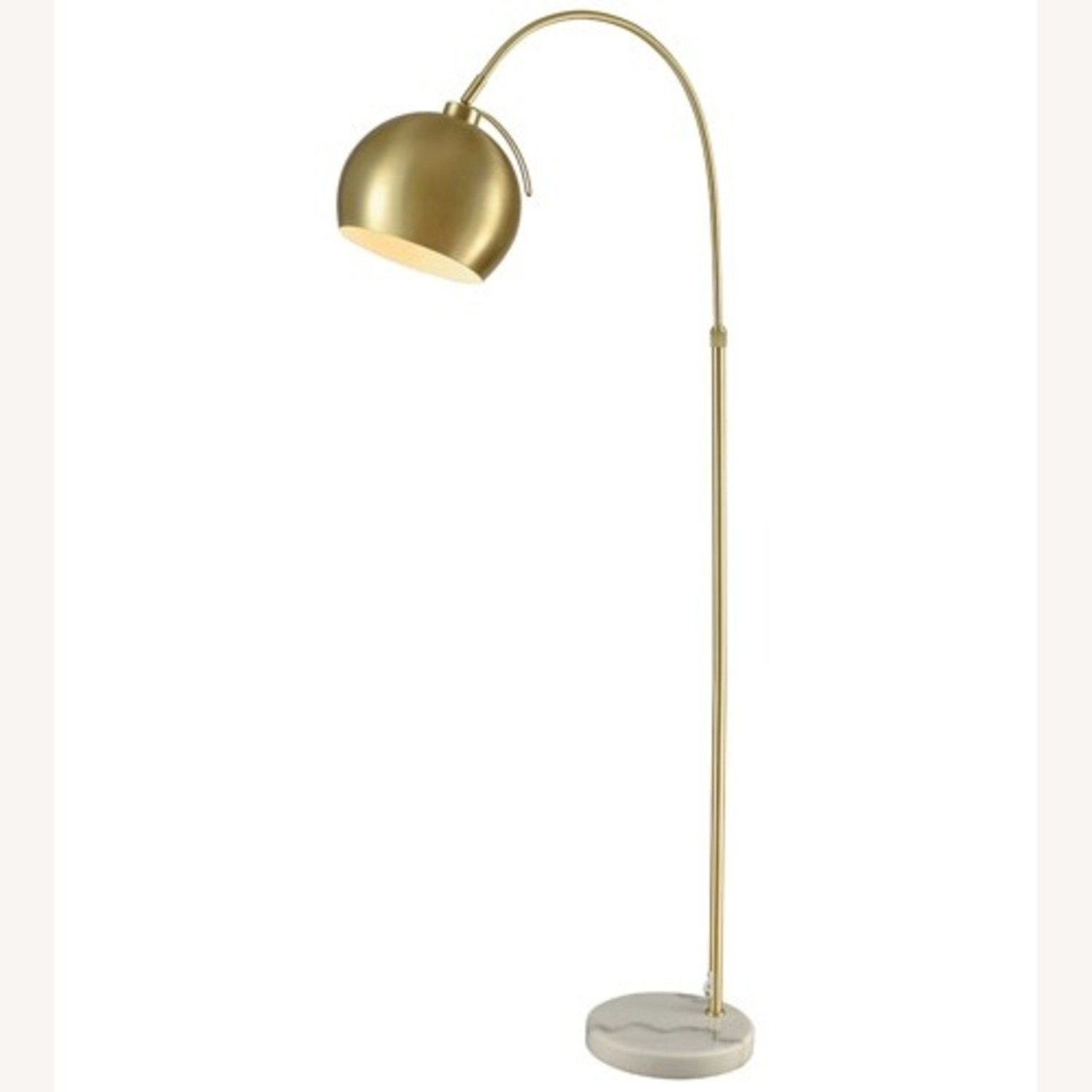 Gold Midcentury Curved Floor Lamp, Marble - image-1