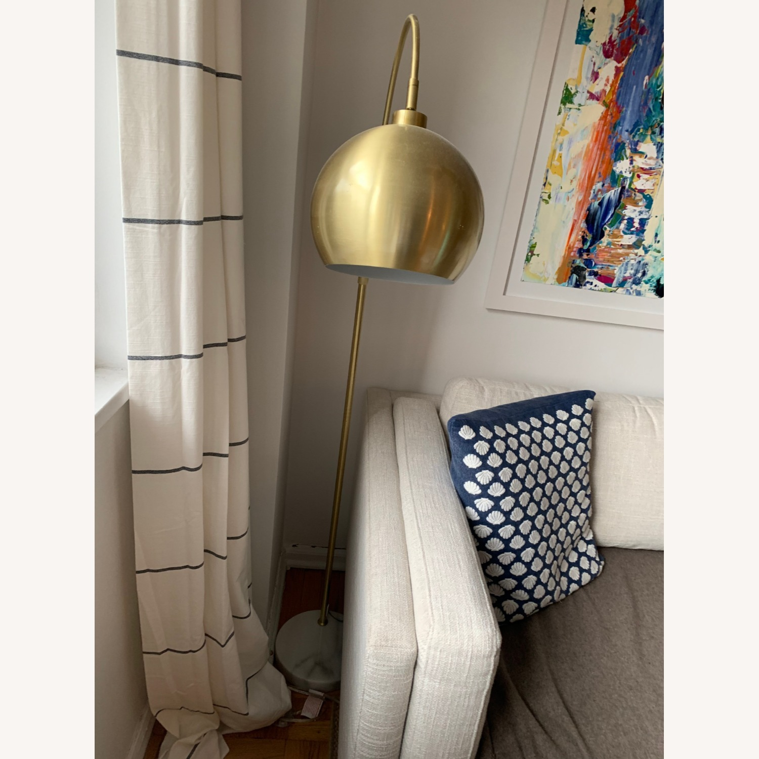 Gold Midcentury Curved Floor Lamp, Marble - image-2