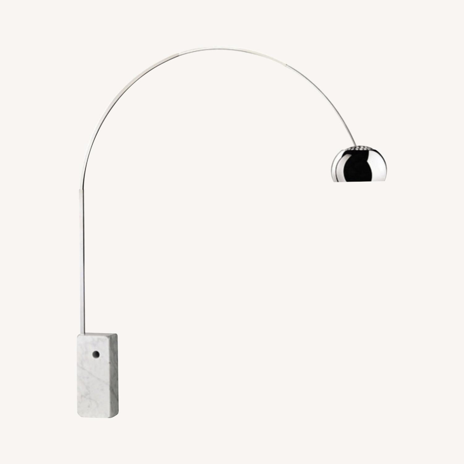 Arc Lamp with Genuine Marble Base - image-0