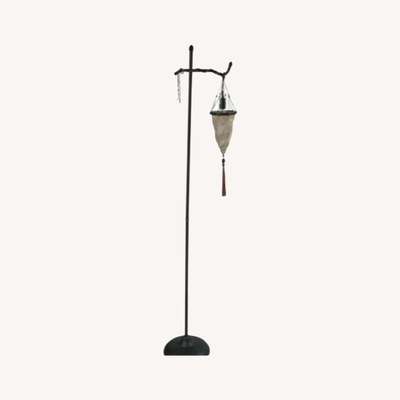 Venetian Floor lamp w silk shade - image-5