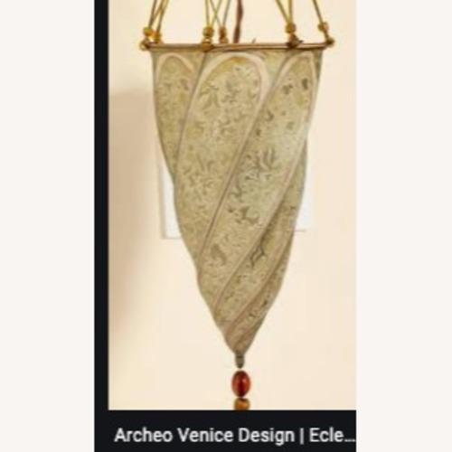 Used Venetian Floor lamp w silk shade for sale on AptDeco