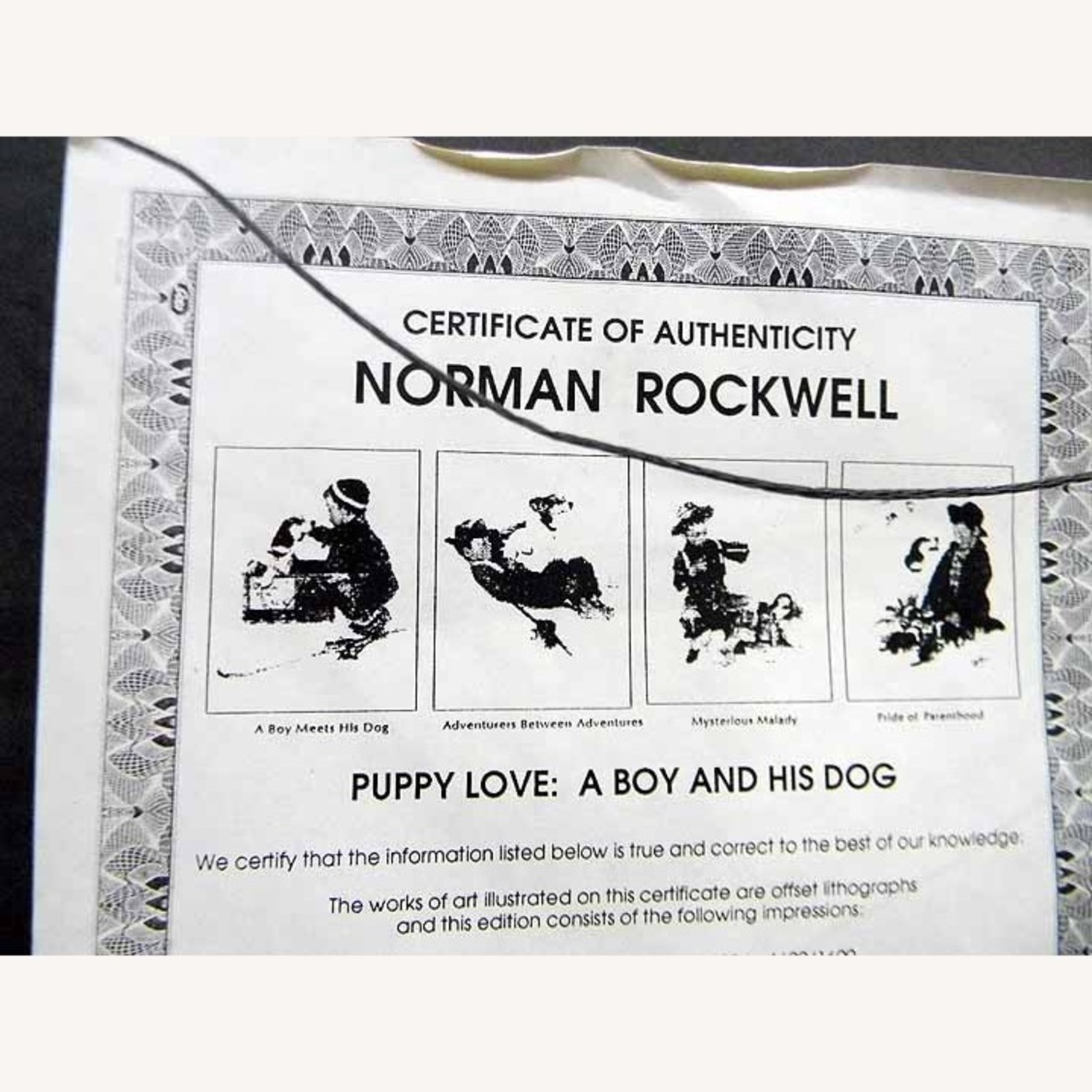 Puppy Love A Boy And His Dog Norman Rockwell COA - image-2