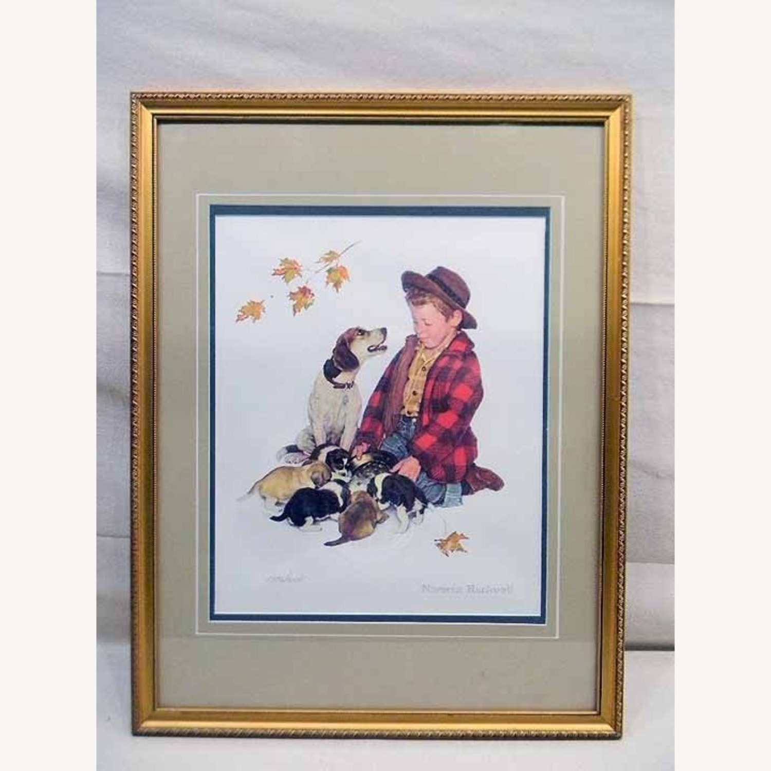 Puppy Love A Boy And His Dog Norman Rockwell COA - image-1