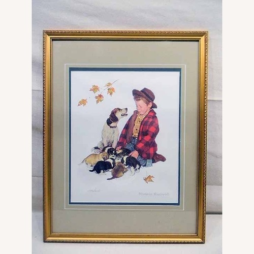 Used Puppy Love A Boy And His Dog Norman Rockwell COA for sale on AptDeco