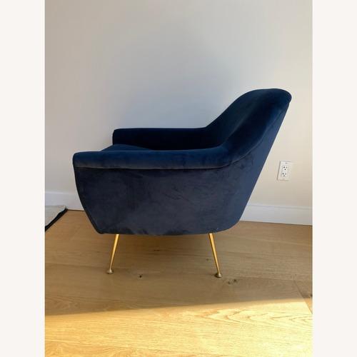 Used West Elm Ink Blue Velvet Phoebe Chair for sale on AptDeco