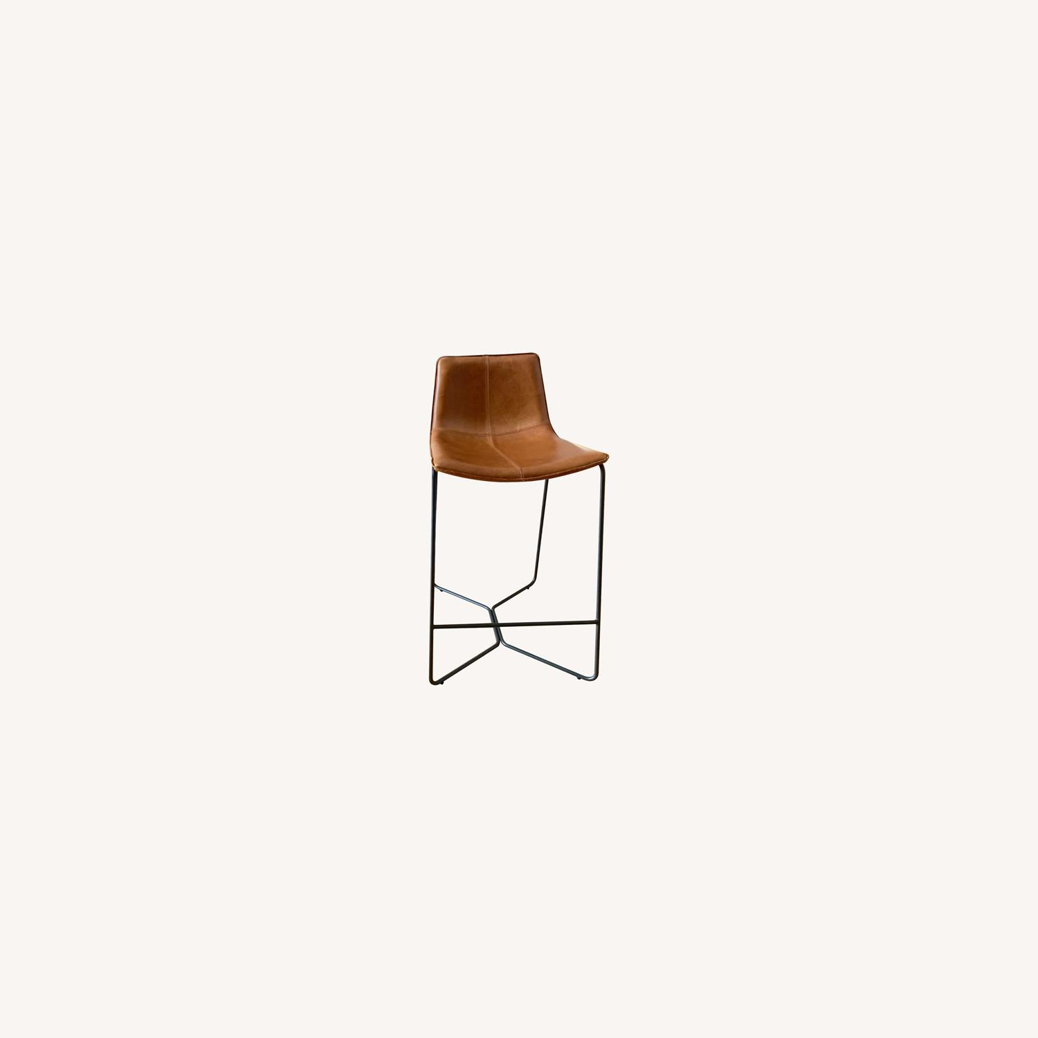 West Elm Saddle Leather Nut Counter Stools - image-0