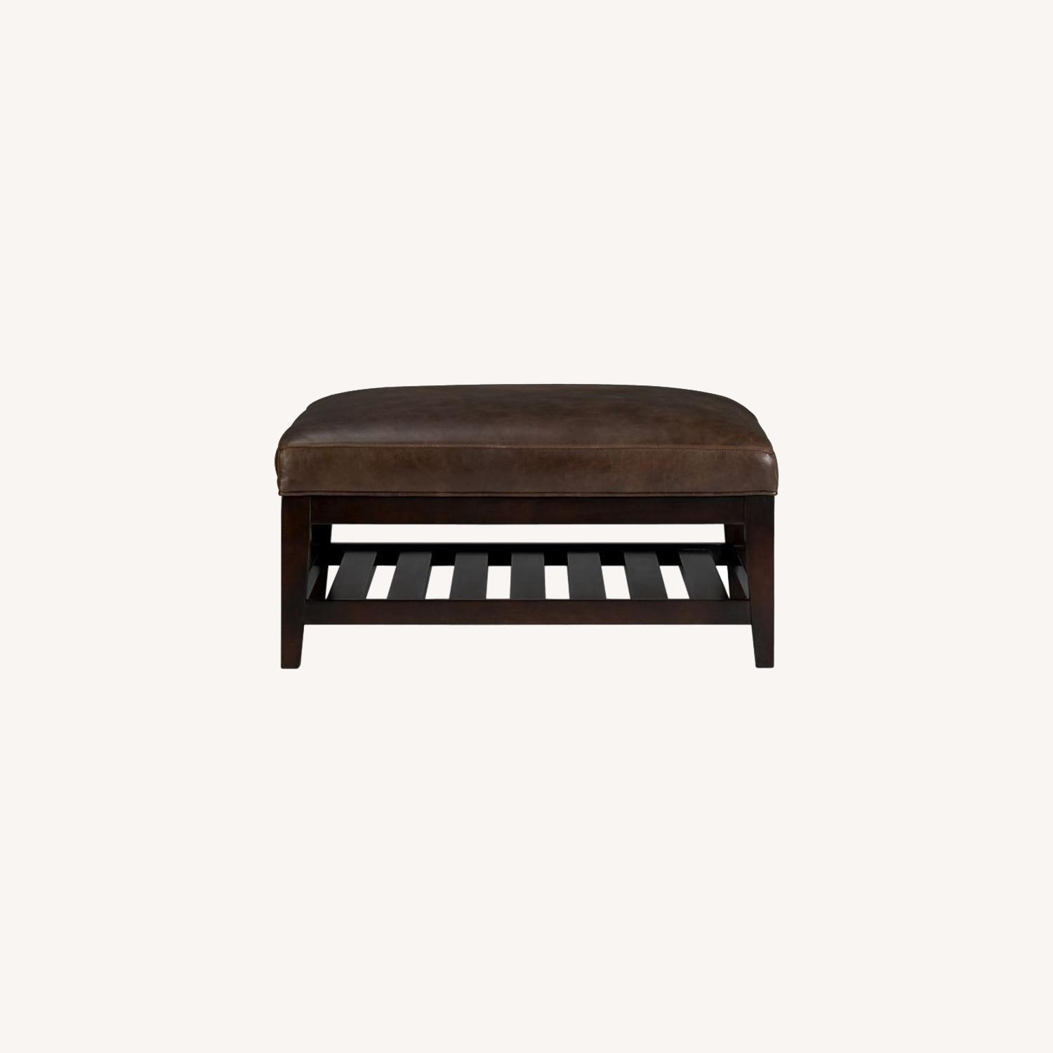 Crate & Barrel Leather & Wood Coffee Table/Ottoman - image-0