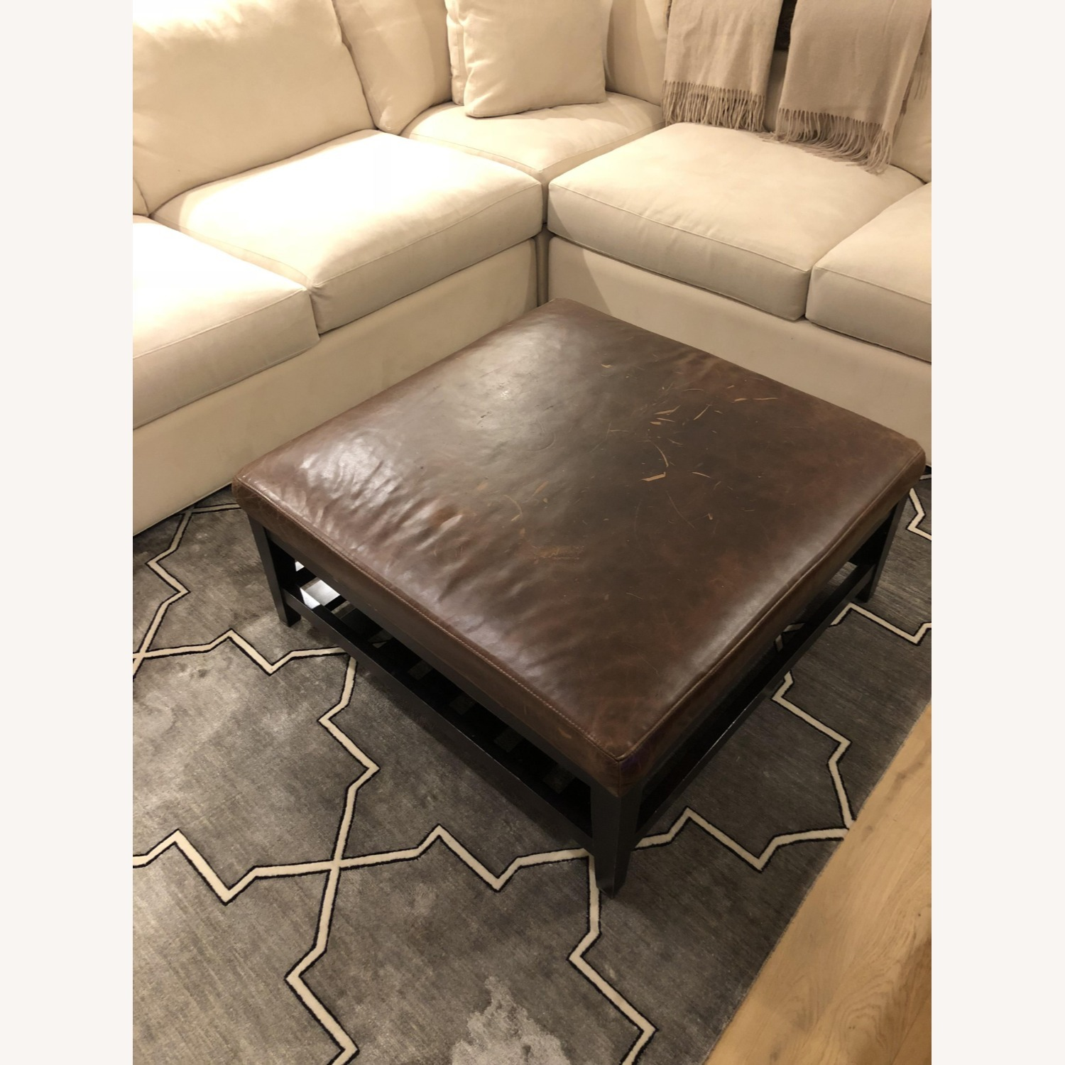 Crate & Barrel Leather & Wood Coffee Table/Ottoman - image-3