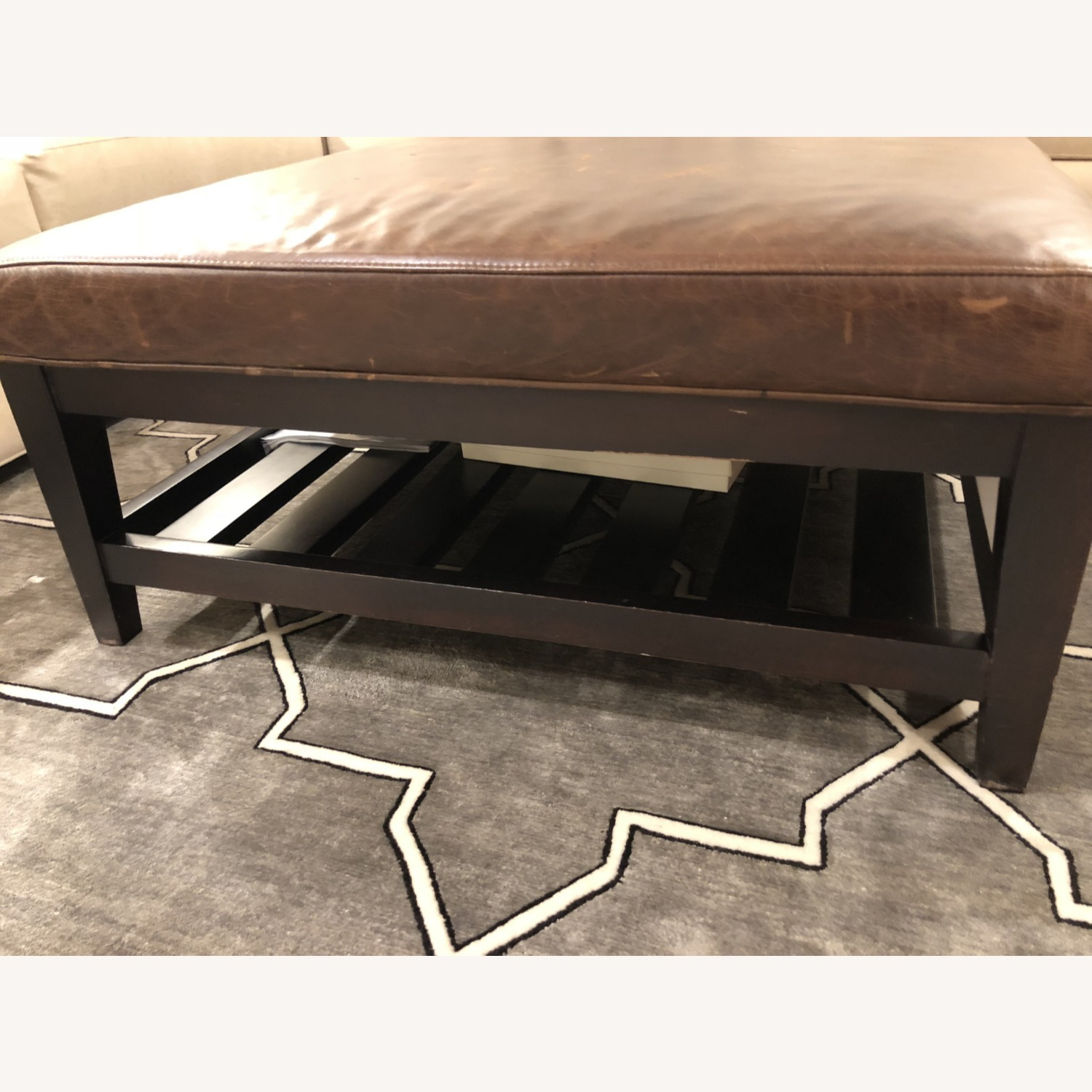 Crate & Barrel Leather & Wood Coffee Table/Ottoman - image-2