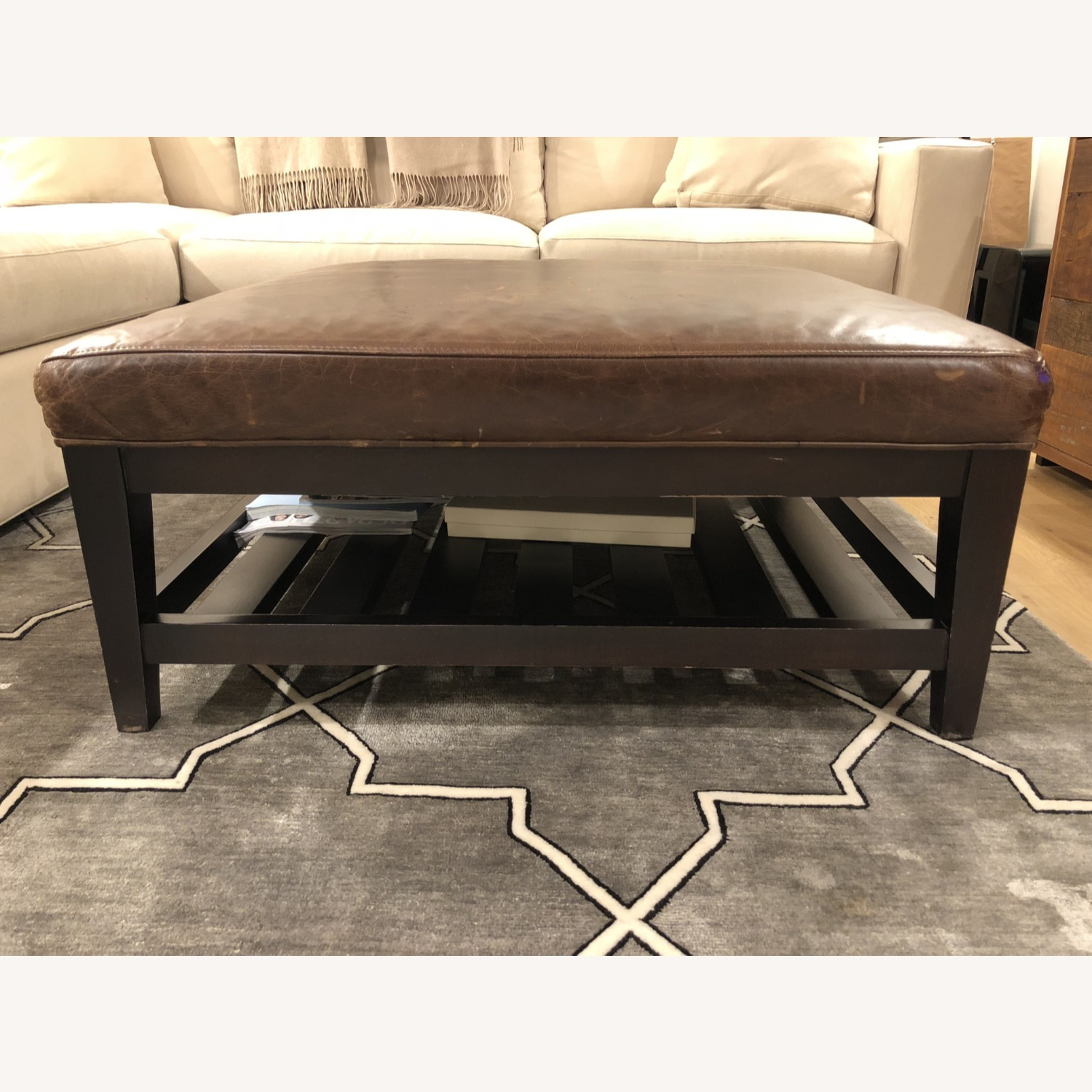 Crate & Barrel Leather & Wood Coffee Table/Ottoman - image-5