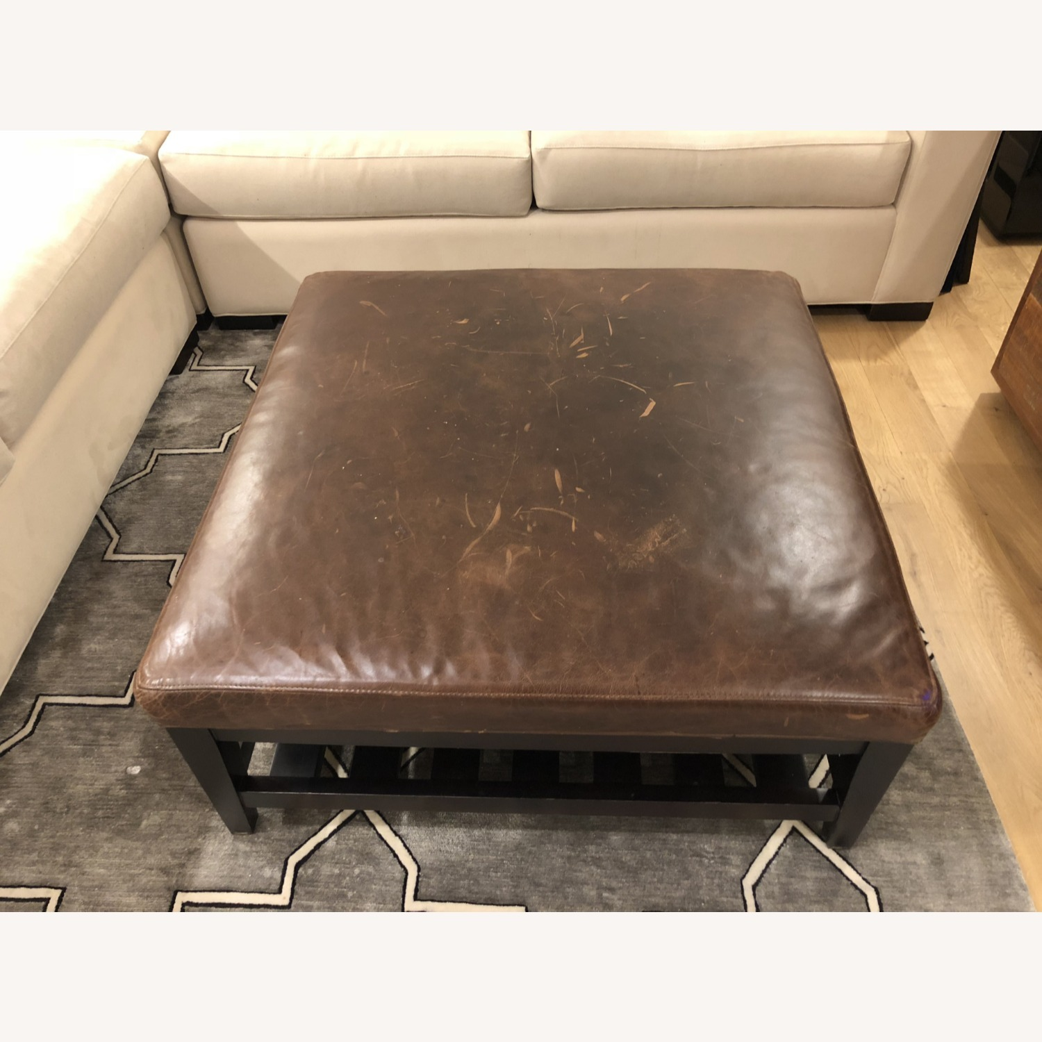 Crate & Barrel Leather & Wood Coffee Table/Ottoman - image-4