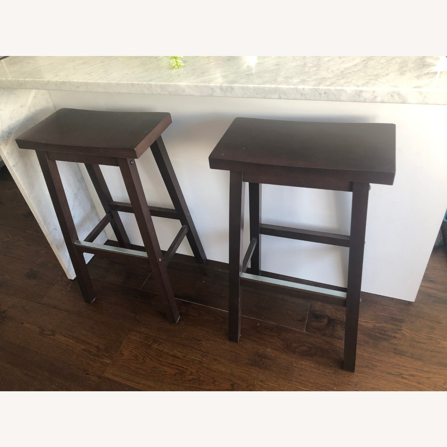 Walnut Kitchen Counter Stool with Foot Plate - image-1