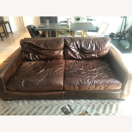 Used Restoration Hardware Maxwell Leather Sofa for sale on AptDeco